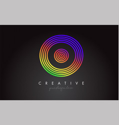 o letter logo design with colorful rainbow vector image