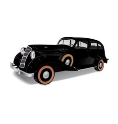 Old vintage car of black color vector