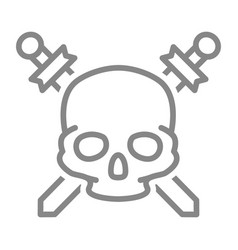 pirate skull with crossed swords line icon vector image