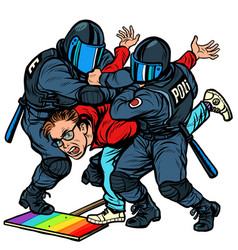 Police arrest activist protest lgbt gay parade vector
