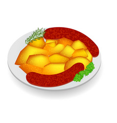 Potatoes with sausage vector