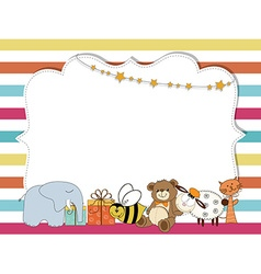 Pretty frame on color lines template for baby vector image