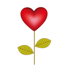 red heart balloon plant icon vector image vector image