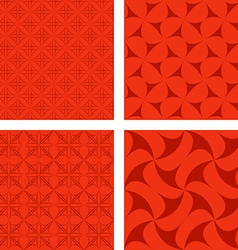 Red seamless pattern background set vector image vector image