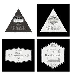 Retro vintage insignias or logotypes set with vector