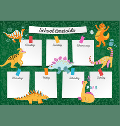 School timetable on blackboard for any planning vector