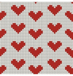 Seamless knitting pattern with Hearts vector image
