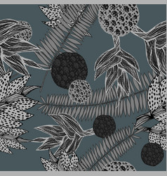 seamless pattern with plants in grey shades vector image