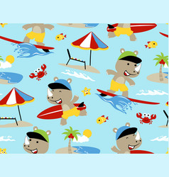 seamless pattern with rhino surfing cartoon in vector image