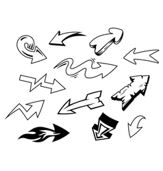 Set doodle arrows icons vector