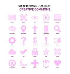 Set of 25 feminish creative commons flat color vector