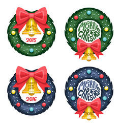 Set of Christmas wreath vector image