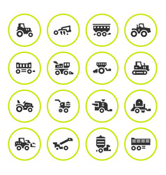 Set round icons of agricultural machinery vector