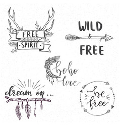 set templates in boho style with hand lettered vector image