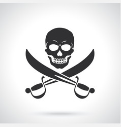 Silhouette jolly roger with crossed sabers vector