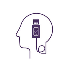 Silhouette profile human head with usb device vector