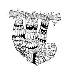 sloth coloring book vector image