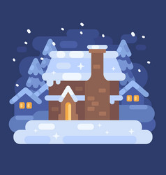 Snowy blue winter village landscape with a house vector