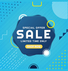 Special offer sale banner geometric memphis vector
