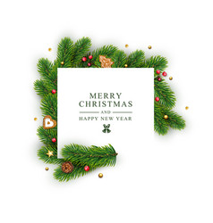 template for christmas and new year with white vector image
