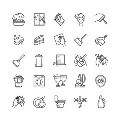 thin line set - cleaning icons vector image