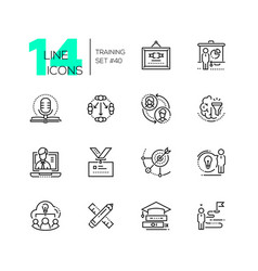 Training - set of line design style icons vector