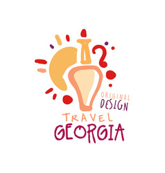 Travel to georgia logo with jug of wine and sun vector