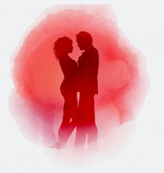 Valentines day couple on watercolour background vector