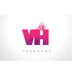 Vh v h letter logo with pink purple color and vector