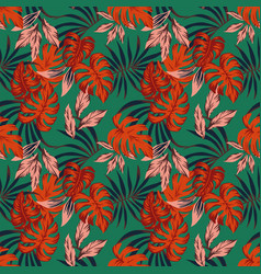vivid abstract color tropical leaves seamless vector image