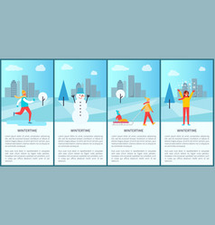 Wintertime city set of posters vector