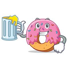 With juice donut mascot cartoon style vector