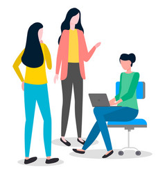 woman office workers are discussing project girl vector image