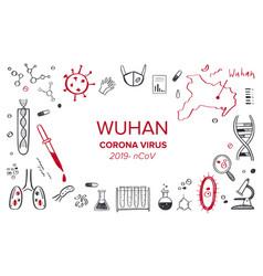Wuhan coronavirus 2019 hand drawn vector