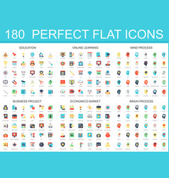 180 modern flat icon set of education online vector image