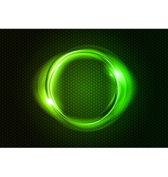 abstract round on black green vector image