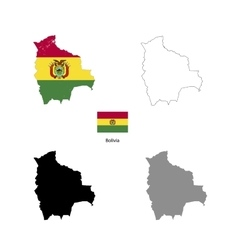 Bolivia country black silhouette and with flag on vector image vector image