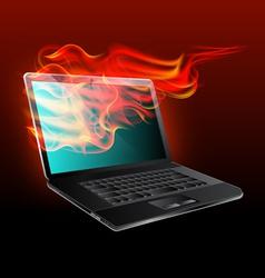 burning laptop vector image