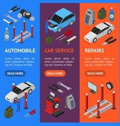 car auto service banner vecrtical set isometric vector image vector image