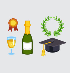 champagne bottle and graduation hat vector image vector image