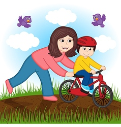 mother teaches child to ride bike vector image vector image