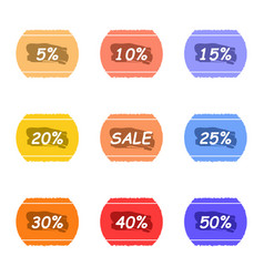 sale and percentage tear sticker with ink label vector image
