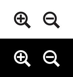 Simple black zoom magnify glass plus and minus vector image vector image