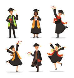success and happy students graduation in vector image