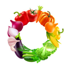 vegetables in circle rainbow colors background vector image vector image