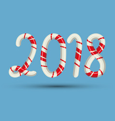 candy cane 2018 text numbers mint hard striped in vector image vector image