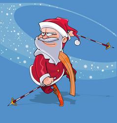 funny cartoon santa claus jump on skis vector image