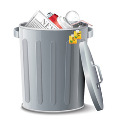 Iron Bin With Garbage vector image vector image