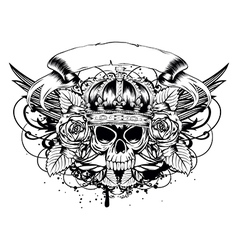 skull corona roses vector image vector image