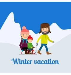 Winter vacation man with children vector image